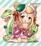 1girl barefoot blonde_hair blush cup green_eyes hair_ornament japanese_clothes kimono long_hair marshmallow_mille meimei_(p&d) obi off_shoulder puzzle_&_dragons sash smile snake turtle_shell