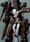 1girl albino bound bra bullet chains crucifixion gun highres jittsu original pale_skin red_eyes restrained solo tied_up underwear weapon white_hair
