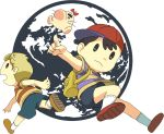 2boys baseball_cap black_hair blonde_hair earthbound hat lucas mother_(game) mr.saturn multiple_boys ness nintendo short_hair shorts