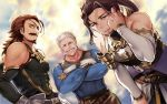 3boys adjusting_hair bare_shoulders beard blue_eyes crossed_arms dutch_angle eugene_(granblue_fantasy) eyepatch facial_hair granblue_fantasy grin haneten_kagatsu jin_(granblue_fantasy) leaning_forward looking_at_viewer male_focus multiple_boys muscle mustache old_man ponytail smile soriz white_hair