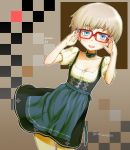 1girl :d adjusting_glasses bespectacled blue_eyes blush breasts character_name choker cleavage cockadooodledoo collarbone cowboy_shot dirndl dress german_clothes glasses highres iron_cross kantai_collection open_mouth outline red-framed_eyewear short_hair short_sleeves silver_hair smile solo traditional_clothes twitter_username z1_leberecht_maass_(kantai_collection)