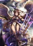 1girl :d angel_wings arm_strap bare_shoulders breasts brown_hair dragon eruthika fantasy floating_swords flying fortress full_body gloves greaves hair_ornament highres long_hair magic medium_breasts open_mouth original outdoors pelvic_curtain red_eyes shorts smile strapless sword thighs tubetop very_long_hair weapon wings