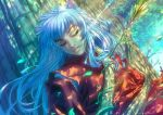 1boy absurdres animal_ears arrow arrow_in_body artist_name bangs blue_hair closed_eyes dappled_sunlight dog_ears eyelashes fang_out highres inuyasha inuyasha_(character) japanese_clothes light_rays long_hair male_focus open_mouth outdoors plant solo sunbeam sunlight tree unconscious upper_body vines watermark web_address xong