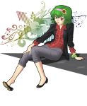 barefoot casual contemporary flower green_hair hairband hands highres kazami_yuuka plaid_shirt red_eyes shoe_dangle shoes short_hair sleeves_pushed_up sunflower touhou ww90055