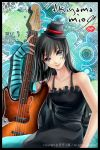 """bangs bass_guitar black_hair blue_legwear blunt_bangs don't_say_lazy don't_say_""""lazy"""" dress elbow_gloves face_paint facepaint fingerless_gloves getsugakogitsune gloves hat hime_cut instrument k-on! long_hair mini_top_hat pantyhose purple_eyes smile solo striped top_hat violet_eyes"""