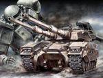 caterpillar_tracks dust gundam gundam_ms_igloo mecha military military_vehicle naga_hana spikes tank type_61_(gundam) vehicle zaku zaku_ii zaku_ii_f/j
