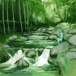bag blue_hair cervus hat kawashiro_nitori lowres nature river short_hair touhou