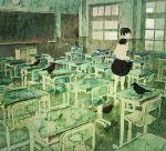 barefoot black_hair classroom crow flood kumaori_jun original rain school_uniform serafuku