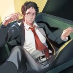 1boy adachi_tooru black_hair dumpster formal grey_eyes jacket looking_at_viewer magatsumagic male_focus messy_hair necktie open_clothes open_jacket parted_lips persona persona_4 red_necktie solo suit