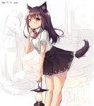 1girl animal_ears black_hair brown_eyes dated garnet highres long_hair original solo tail
