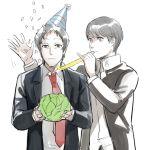 2boys adachi_tooru cabbage confetti hat magatsumagic multiple_boys narukami_yuu party_favor party_hat persona persona_4