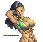 1girl abs arm_up armpits asymmetrical_hair black_hair bottomless bracelet breasts cornrows dark_skin front-tie_top hair_flip jewelry large_breasts laura_matsuda lips long_hair mick_cortes muscle out-of-frame_censoring solo street_fighter street_fighter_v upper_body watermark web_address white_background