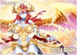 1girl angel_wings blonde_hair blue_skin breasts character_name cleavage copyright_name demon_girl demon_wings hair_ornament halo hand_on_own_chest hera-sowilo_(p&d) hera_(p&d) horn_ring horns jewelry long_hair looking_at_viewer multicolored_hair multiple_wings necklace puzzle_&_dragons red_wings redhead sennoyume slit_pupils smile solo tail thigh-highs two-tone_hair vambraces white_border wings yellow_eyes yellow_wings