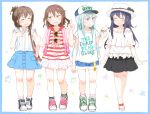 4girls akatsuki_(kantai_collection) alternate_costume backpack bag bangs baseball_cap black_hair blouse blue_eyes blue_hair bracelet brown_hair casual closed_eyes commentary_request contemporary denim denim_shorts earrings failure_penguin fang female folded_ponytail food food_on_face frilled_shirt frills full_body glasses gomennasai hair_ornament hairclip hand_on_own_chest handbag hat heart-shaped_sunglasses heart_shape hibiki_(kantai_collection) holding holding_food ice_cream ice_cream_cone ikazuchi_(kantai_collection) inazuma_(kantai_collection) index_finger_raised jewelry kantai_collection long_hair miss_cloud multiple_girls open_mouth polka_dot_skirt sandals shirt shoes shorts sidelocks simple_background sketch skirt sleeveless sleeveless_shirt smile sneakers star sunglasses sunglasses_removed t-shirt text translation_request white_background