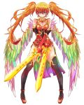 bird_wings boots breasts chinese_clothes cleavage cleavage_cutout dress dual_wielding earrings elbow_gloves gloves green_eyes jewelry large_breasts leilan_(p&d) long_hair looking_at_viewer multicolored_wings orange_hair puzzle_&_dragons short_dress smile sword thigh-highs thigh_boots tonton_(hamuni123) twintails weapon wings