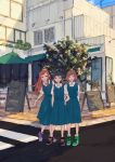 3girls blue_dress blue_hair bracelet brown_hair building collared_shirt commentary_request day dress highres jewelry long_hair multiple_girls orange_hair original outdoors pinafore_dress road shirt shoes short_hair side-by-side sign sketch sneakers standing street sumi_(pixiv619693) tennis_shoes tree