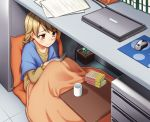 1girl bangs blanket blush book collarbone computer cup desk drill_hair gurena hiding holding holding_book idolmaster idolmaster_cinderella_girls indoors kotatsu laptop light_brown_hair long_sleeves morikubo_nono mousepad_(object) mug mushroom open_book orange_eyes paper pillow plant pot potted_plant reading short_hair smile solo table under_table