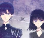 1boy 1girl bishoujo_senshi_sailor_moon black_hair black_moon_clan black_shirt blood bloody_tears blue_eyes brooch character_name crescent crystal_earrings earrings expressionless facial_mark forehead_mark grey_background jewelry saki_(hxaxcxk) saphir_(sailor_moon) saturn_symbol shirt short_hair tomoe_hotaru upper_body violet_eyes