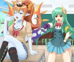 2girls :o ahoge angry athena_(p&d) black_bra blue_skin blush bow bra bra_slip breasts brown_eyes classroom cleavage demon_girl desk gloves green_hair hair_ornament halo hand_on_hip hera-ur_(p&d) hera_(p&d) highres horns jacket lace lace-trimmed_bra large_breasts legs_crossed long_hair mechanical_wings mimix33 multiple_girls on_desk one_eye_closed orange_hair pleated_skirt pointing pointy_ears puzzle_&_dragons school_desk school_uniform sitting sitting_on_desk skirt sweater underwear vambraces wings yawning yellow_eyes
