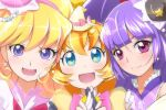 3girls :d asahina_mirai black_hat blonde_hair blue_eyes blush bow brooch cure_magical cure_miracle cure_mofurun earrings girl_sandwich hat izayoi_riko jewelry long_hair looking_at_viewer mahou_girls_precure! mini_hat mini_witch_hat mofulun_(mahou_girls_precure!) mofurun_(mahou_girls_precure!) multiple_girls open_mouth orange_hair personification pink_bow pink_hat precure purple_hair sandwiched sch smile violet_eyes witch_hat yellow_hat