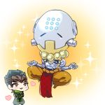 2boys :3 black_hair blush brown_hair chibi cyborg floating genji_(overwatch) heart humanoid_robot indian_style japanese_clothes male_focus mask monk multiple_boys omnic open_mouth overwatch pants robot scarf shino_da short_hair sitting smile sphere spiky_hair zenyatta_(overwatch)