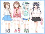 4girls akatsuki_(kantai_collection) alternate_costume backpack bag bangs baseball_cap black_hair blouse blue_eyes blue_hair bracelet brown_hair casual closed_eyes commentary_request denim denim_shorts earrings english failure_penguin fang folded_ponytail food food_on_face frilled_shirt frills glasses gomennasai hair_ornament hairclip hand_on_own_chest handbag hat heart-shaped_sunglasses heart_shape hibiki_(kantai_collection) holding holding_food ice_cream ice_cream_cone ikazuchi_(kantai_collection) inazuma_(kantai_collection) index_finger_raised jewelry kantai_collection long_hair miss_cloud multiple_girls open_mouth polka_dot_skirt sandals shirt shoes shorts sidelocks sketch skirt sleeveless sleeveless_shirt smile sneakers star sunglasses sunglasses_removed t-shirt text translation_request