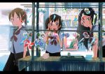 3girls backpack bag black_hair black_skirt blue_eyes brown_eyes brown_hair building fan handbag inami_hatoko long_hair multiple_girls neckerchief open_mouth original outdoors paper_fan pinwheel pointing pointing_up school_bag school_uniform serafuku short_hair shoulder_bag skirt smile uchiwa wind_chime
