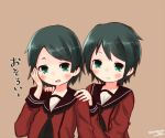 2girls alternate_hair_length alternate_hairstyle black_hair commentary_request green_eyes kantai_collection looking_at_viewer mikuma_(kantai_collection) mogami_(kantai_collection) momiji_(103) multiple_girls neckerchief school_uniform serafuku short_hair translation_request twitter_username