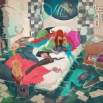 1girl alarm_clock anglerfish artist_name bangs bed bed_sheet bedroom black_legwear blue_skirt blunt_bangs book bubble cat clock computer copyright_request crab creature digital_clock fantasy fish fish_request fishbowl full_body highres indoors jason_chan laptop long_hair lying messy_room notebook off_shoulder on_bed on_side open_book orange_hair photo_(object) picture_(object) picture_frame reading shark signature skirt solo sweater thigh-highs water what zettai_ryouiki