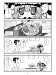 1boy 1girl 4koma admiral_(kantai_collection) anmitsu_(dessert) blush blush_stickers bodysuit cherry chibi comic commentary_request epaulettes fingers_together flying_sweatdrops food fruit gloves gomasamune hand_to_own_mouth hat kantai_collection military military_hat military_uniform monochrome peaked_cap pocky shinkaisei-kan sparkle standing_on_chair steam surprised table tea tentacle translation_request tsundere turning_head uniform whipped_cream wo-class_aircraft_carrier yunomi