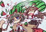 2girls ^_^ ahoge black_hair blue_eyes blush_stickers brown_hair chibi closed_eyes d.a empty_eyes food fruit geoduck glasses hairband kantai_collection kirishima_(kantai_collection) kongou_(kantai_collection) long_hair multiple_girls nontraditional_miko open_mouth pantyhose short_hair sitting sitting_on_person skirt smile suikawari thigh-highs watermelon you're_doing_it_wrong