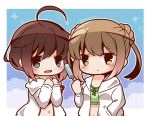 2girls ahoge alternate_costume blonde_hair bloom2425 blue_eyes braid brown_eyes brown_hair chibi commentary_request double_bun hair_bun hair_over_shoulder hair_ribbon kantai_collection long_hair looking_at_viewer michishio_(kantai_collection) multiple_girls open_mouth popsicle ribbon shigure_(kantai_collection) short_hair short_sleeves single_braid