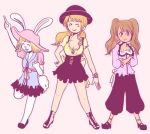 3girls artist_request carrot_(one_piece) charlotte_pudding charlotte_purin crossed_arms furry hat multiple_girls nami_(one_piece) one_piece rabbit_ears smile source_request standing