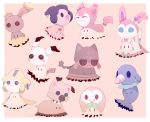bird blush_stickers buneary buneary_(cosplay) commentary cosplay jirachi jirachi_(cosplay) litten_(pokemon) litten_(pokemon)_(cosplay) mime_jr. mime_jr._(cosplay) mimikyu mimikyu_(pokemon) no_humans orange_background owl pokemon pokemon_(creature) pokemon_(game) pokemon_sm popplio popplio_(cosplay) rabbit rockruff rockruff_(cosplay) rowlet rowlet_(cosplay) simple_background skitty skitty_(cosplay) sylveon sylveon_(cosplay) tail