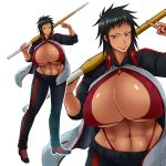 abs black_hair breasts cilica huge_breasts red_eyes