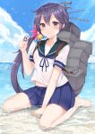 1girl akebono_(kantai_collection) barefoot beach bell between_legs blush coffeedog flower hair_bell hair_flower hair_ornament hand_between_legs highres holding holding_hair kantai_collection kneeling looking_at_viewer midriff_peek neck_ribbon pleated_skirt purple_hair ribbon sailor_collar school_uniform see-through serafuku short_sleeves side_ponytail skirt solo violet_eyes wet wet_clothes