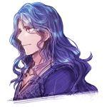 1boy blue_hair collarbone hair_down harvest_moon long_hair ludus male_focus profile red_eyes sketch solo story_of_seasons:_trio_of_towns sumimoto_ryuu wavy_hair