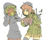 2girls :< accordion assault_rifle beret breasts brown_eyes brown_hair cape cigarette cowl dark_skin famas female flying_sweatdrops food france french_flag frown fruit green_eyes green_hair gun hat hood instrument isis-chan jarv melon military military_uniform multiple_girls musical_note original parody patch playing_instrument ponytail rifle simple_background skirt small_breasts smoking standing sweatdrop tears thigh-highs uniform weapon white_background zettai_ryouiki