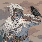 1other ambiguous_gender animal_on_arm animal_skull apex_legends axe belt bird bird_on_arm bloodhound_(apex_legends) blue_shirt brown_belt brown_gloves clenched_hand clouds crow feathers fingerless_gloves forest gas_mask gloves goggles highres holding holding_axe nature shirt solo tree y_(user_rjry7778) young_blood_bloodhound