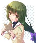 1girl blush brown_eyes clannad green_hair hair_ornament hair_ribbon ibuki_fuuko kuro_futoshi open_mouth ponytail school_uniform solo starfish