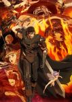 2girls 6+boys absurdres bandage berserk black_gloves black_hair blonde_hair brown_hair burning casca character_request farnese feathered_wings fire gloves guts highres holding holding_sword holding_weapon huge_weapon isidro long_hair mozgus multiple_boys multiple_girls one_eye_closed open_mouth polearm puck serpico short_hair short_twintails sword twintails weapon white_wings wings