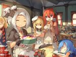 6+girls :q admiral_scheer_(zhan_jian_shao_nyu) ahoge annoyed apron aviere_(zhan_jian_shao_nyu) bare_shoulders black_gloves blonde_hair blue_hair blue_sweater canned_food cannon chef_hat chibi closed_eyes closed_mouth cooking crossed_arms curtains cutting_board distress fish flat_cap fork garrison_cap gloves glowworm_(zhan_jian_shao_nyu) graf_spee_(zhan_jian_shao_nyu) hair_ornament hair_ribbon hairclip hat headwear holding hotpot indoors knife ladle lifebuoy lino-lin long_hair looking_at_another looking_down low_twintails lying multiple_girls necktie official_art on_stomach open_mouth peaked_cap picture_frame plate pot quincy_(zhan_jian_shao_nyu) red_necktie redhead ribbon ryuujou_(zhan_jian_shao_nyu) scarf shirt short_hair sitting sleeveless smile smoking standing striped striped_necktie striped_scarf sukhbaatar_(zhan_jian_shao_nyu) sweatdrop sweater sweater_vest tin_can tomato tongue tongue_out torpedo turret twintails violet_eyes vittorio_veneto_(zhan_jian_shao_nyu) white_hair white_hat white_shirt window wooden_chair wooden_table worried zhan_jian_shao_nyu
