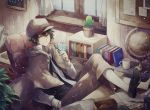1boy angel31424 artist_name black_hair book brown_eyes bungou_stray_dogs cactus capelet chair curtains edogawa_ranpo_(bungou_stray_dogs) glasses glasses_removed globe leaf male_focus necktie pencil sitting solo window