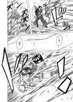 2girls cannon comic firing henshin holding holding_weapon kantai_collection long_hair monochrome multiple_girls neckerchief ooi_(kantai_collection) open_mouth pants remodel_(kantai_collection) rigging ru-class_battleship shino_(ponjiyuusu) shirt speed_lines torpedo translated weapon