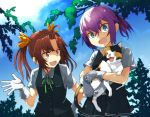 2girls :3 :d ahoge animal animal_ears blouse blue_eyes blue_sky brown_hair buttons cat cat_ears clouds fangs gloves green_ribbon hair_between_eyes hair_ornament hair_ribbon hand_on_hip holding kagerou_(kantai_collection) kantai_collection long_hair multiple_girls neck_ribbon open_hand open_mouth outdoors pink_hair plant pleated_skirt ponytail red_ribbon ribbon school_uniform shiranui_(kantai_collection) short_hair short_ponytail skirt sky smile tail tree twintails umoo_futon vest white_blouse white_gloves yellow_ribbon
