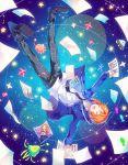 1boy alien brother_and_sister ensemble_girls! ensemble_stars! falling kina_(446964) male_focus orange_hair pants pen photo photo_(object) plaid plaid_pants school_uniform sheet_music siblings smile solo space star_(sky) tsukinaga_leo tsukinaga_ruka ufo