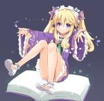 1girl absurdres bangs bare_legs blonde_hair blue_eyes blush convenient_leg dress eyebrows_visible_through_hair frilled_dress frills full_body green_neckwear hair_between_eyes hair_ornament headgear headphones highres himajin_(starmine) histoire long_hair looking_at_viewer necktie neptune_(series) purple_dress solo twintails