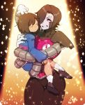 1boy 3m_0l androgynous black_hair brown_hair carrying cyborg frisk_(undertale) gloves grin hair_over_one_eye jitome mettaton mettaton-ex mettaton_ex pink_eyes smile socks solid_circle_eyes sparkle thick_thighs thighs undertale white_gloves