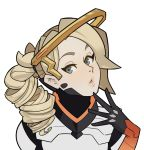 1girl blonde_hair blue_eyes drill_hair gloves high_ponytail lips looking_at_viewer mechanical_halo mercy_(overwatch) overwatch ponytail short_hair solo splashbrush