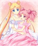2girls absurdres bare_shoulders bishoujo_senshi_sailor_moon blonde_hair blue_eyes bow breasts chibi_usa cleavage collarbone crescent double_bun dress facial_mark forehead_mark frills highres jewelry long_hair looking_at_each_other multiple_girls necklace pearl_necklace pink_background pink_bow pink_dress pink_eyes pink_hair princess_serenity shirato_sayuri short_hair small_lady_serenity smile strapless strapless_dress tsukino_usagi twintails white_bow white_dress